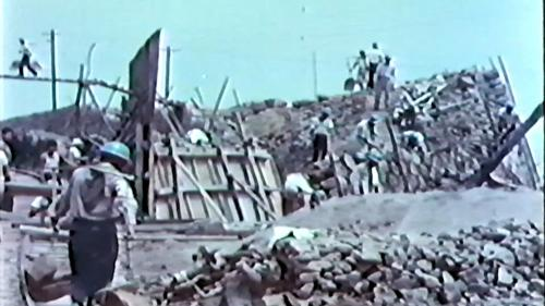 中部橫貫公路興建之山側擋土牆基礎施工
