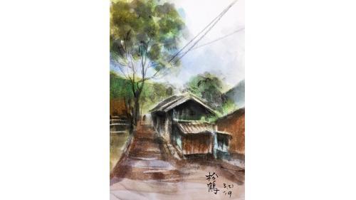 中部橫貫公路興建油畫-松鶴部落