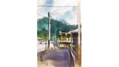 中部橫貫公路興建油畫-白冷罣礙文化園區