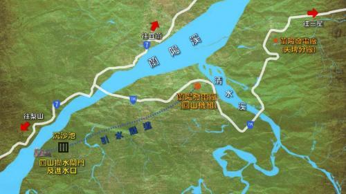圓山電廠與取水口引水及蘭陽電廠相對位置示意圖:圓山電廠取水位置在蘭陽溪牛鬥橋上游約2.3公里處,以約2公里長的鐵絲籠構築的臨時壩攔取河水流向取水。