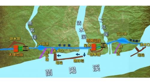1921年1月興建「天送埤發電所」,1922年6月正式啟用,是臺灣排名第三的電廠。1939年圓山發電所動工,1941年竣工。