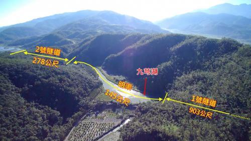 天埤電廠水源自引水隧道引來後經903公尺的1號隧道、145公尺的明渠及278公尺的2號道後才可到達天埤電廠的前池。