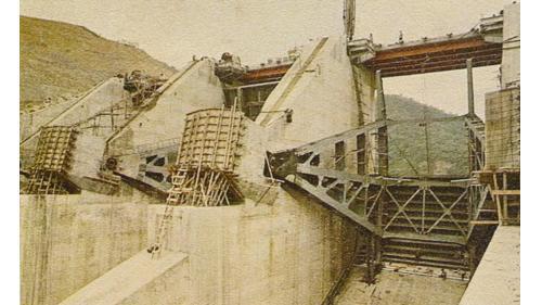 曾文水庫 溢洪道閘門及起閉機施工接近完成,1973.5.31完工