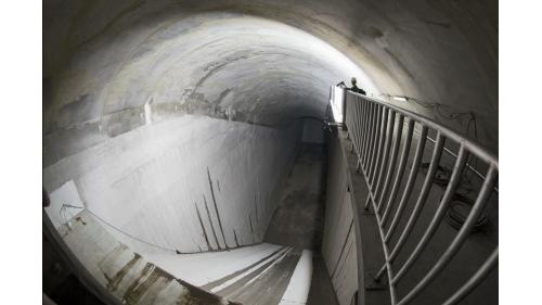 曾文水庫防淤隧道山體內消能池施工