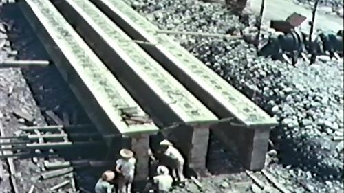 榮工處專業化的橋樑工程隊橋樑預力梁工法施工中-預力梁儲存場