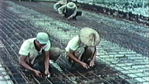 榮工處專業化的橋樑工程隊橋樑施工的橋面鋼筋綁紮
