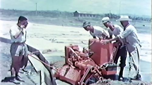 榮工處承建屏東機場擴建工程:以機器切割石塊