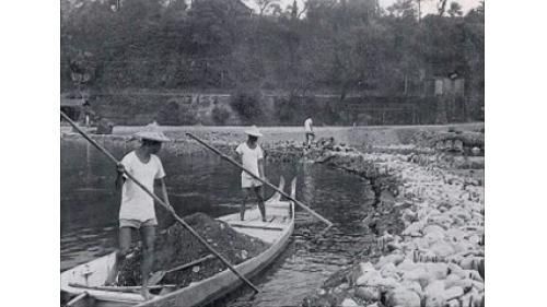 大安溪后里電廠早期在大安溪築臨時壩取水