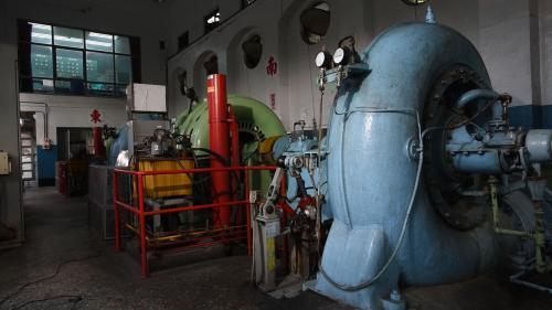 大安溪后里電廠內的橫軸單渦卷法蘭西斯式水輪發電機組