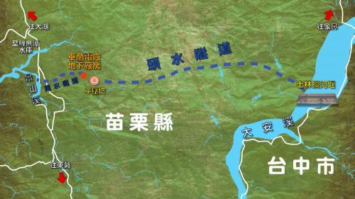 大安溪支流景山溪鯉魚潭越域引水與士林攔河堰(又稱士林壩)及卓蘭電廠相對位置示意圖
