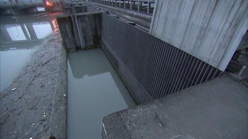 大安溪士林攔河堰右側鯉魚潭越域引水的進水口(卓蘭電廠進水口)