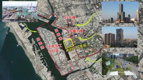 西南側為中島加工出口區與高雄港,東北側則有中鋼大樓、高雄85大樓,門口有輕軌通行。