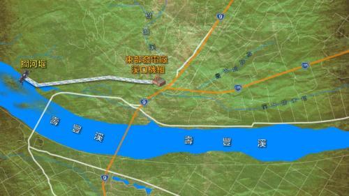 壽豐溪流域溪口電廠攔河堰及發電機組,相關位置及取水發電示意圖