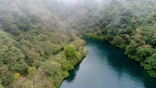 木瓜溪流域奇萊引水工程龍溪壩出水口上空俯瞰