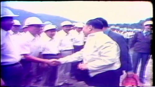 榮工處承建曾文水庫工程完工,蔣經國先生親自慰問榮工弟兄並予嘉勉