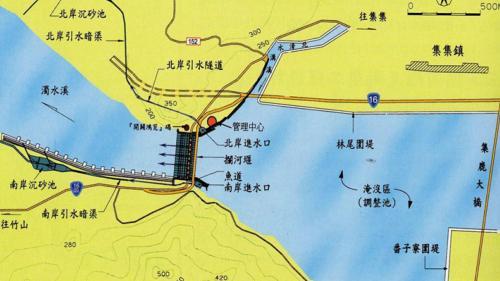 集集攔河堰工程示意圖