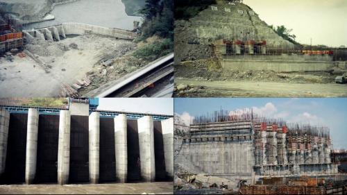 濁水溪集集攔河堰南岸取水口施工舊照