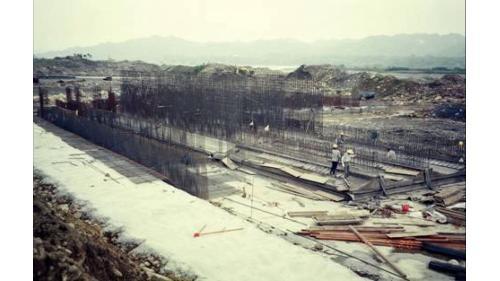 濁水溪集集攔河堰南岸沈砂池施工舊照