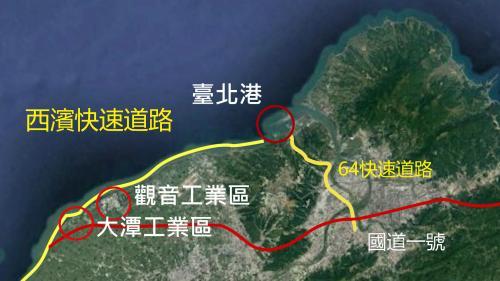 台北港港區主要聯絡道路示意圖