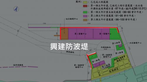 台北港第二期工程第一個五年計畫(1997年~2001年)興建防坡堤工程圖(總長3810公尺)