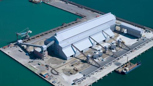 屬於環保密閉式倉儲,主要進行煤炭及砂石之裝卸作業,每年儲運可達200至300萬噸,約莫臺北港散雜貨量的30%。