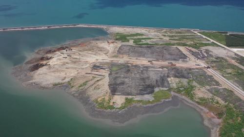台北港「離岸物流倉儲區填海造地企劃第二期」圍海地俯瞰