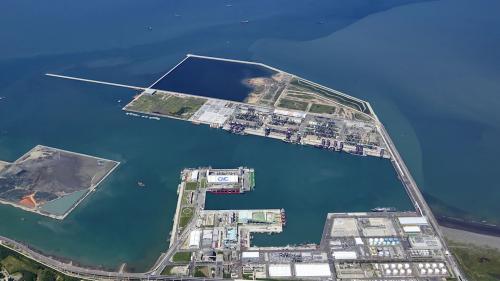 台北港第一散雜貨中心、第二散雜貨中心及北1~9碼頭俯瞰