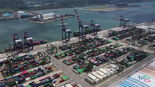 台北港港北區第四、五號第一、二散雜貨中心貨櫃碼頭及俯瞰