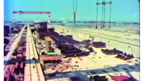 當時是排名世界第2大的乾船塢工程,全長950公尺,寬92公尺,平均深度14 公尺,由榮工處是與日本鹿島公司合作承建,63年3月開工,到65年6月1日完工。