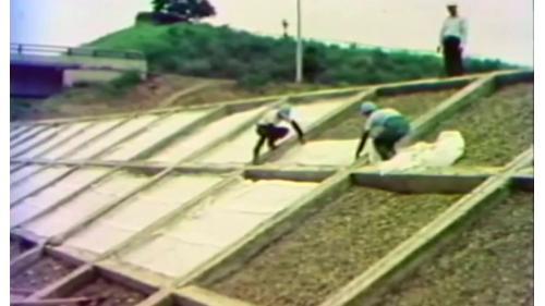 榮工處承辦之中山南北高速公路工程對邊坡加以保護