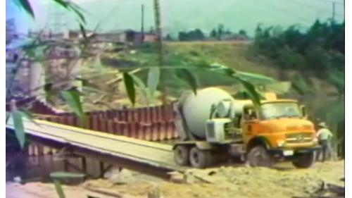 榮工處承辦之中山南北高速公路使用混凝土建設公路橋梁