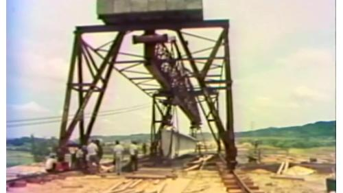 榮工處承辦之中山南北高速公路使用的預力樑搬運