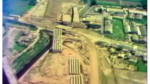 榮工處承辦之中山南北高速公路存放的預力樑
