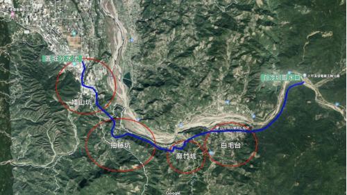 白冷圳自進水口到終點新五村圓堀分水池的行經路線(1932年)
