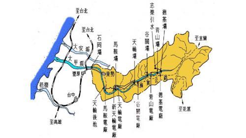 大甲溪流域各電廠及水壩分布圖
