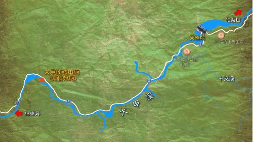大甲溪流域天輪電廠及天輪壩位置示意圖