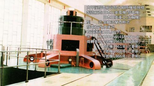 為豎軸法蘭西斯式,有效落差182.3公尺,出力180MW。