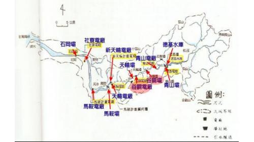大甲溪谷關壩及復建電廠示意圖