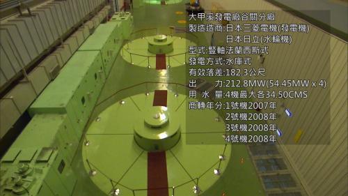 為豎軸法蘭西斯式,有效落差182.3公尺,出力212.8MW。