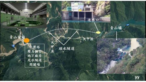 大甲溪青山壩與(原)青山電廠位置示意圖,電廠總裝置容量360MW