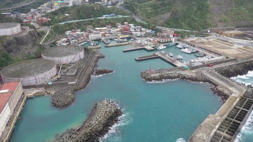 協和電廠進水口及外木山漁港俯瞰