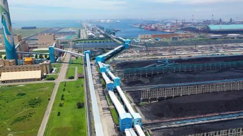 台中電廠輸煤皮帶及露天儲煤場俯瞰