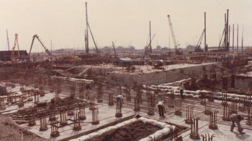 興達電廠建廠初期一號機粉煤機基礎排放鋼筋