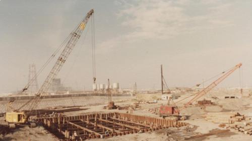 興達電廠建廠初期一、二號機抽水機房施工舊照