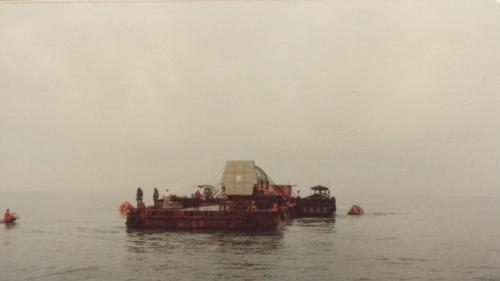興達電廠建廠初期發電機定子海上拖運