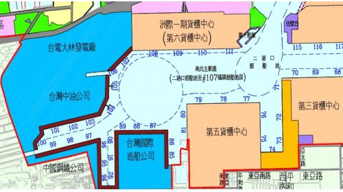 高雄港12年擴建計畫:大林蒲新生地。提供中鋼、中油、台電大林廠、中船等大型國營公司建廠之用