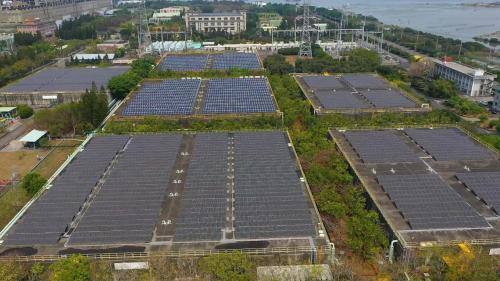 98年在電廠131公頃第二廠區鹽灘地,興建佔地9.45公頃裝置容量4,636KWP之太陽能發電場,為當時全台灣裝置容量最大之太陽能發電埸,加上裝設於#1-#6水槽頂蓋上,SCR大樓屋頂的,合計6,263KWP。