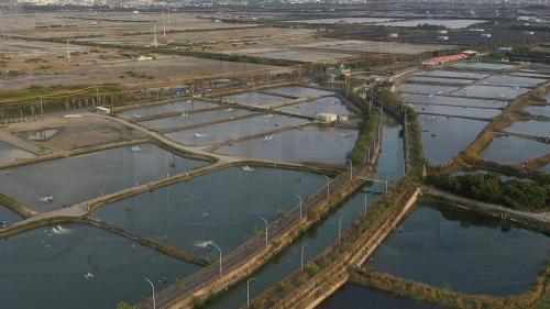 興達電廠附近多為鹽田、魚塭。