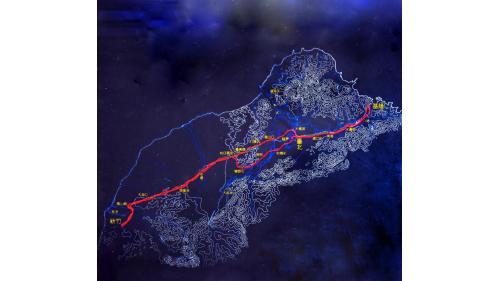 劉銘傳氏創建台灣鐵路路線圖