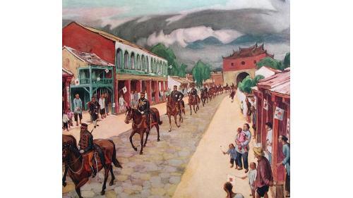1895年6月11日,北白川宮能久親王從北門進入台北城想像畫面。
